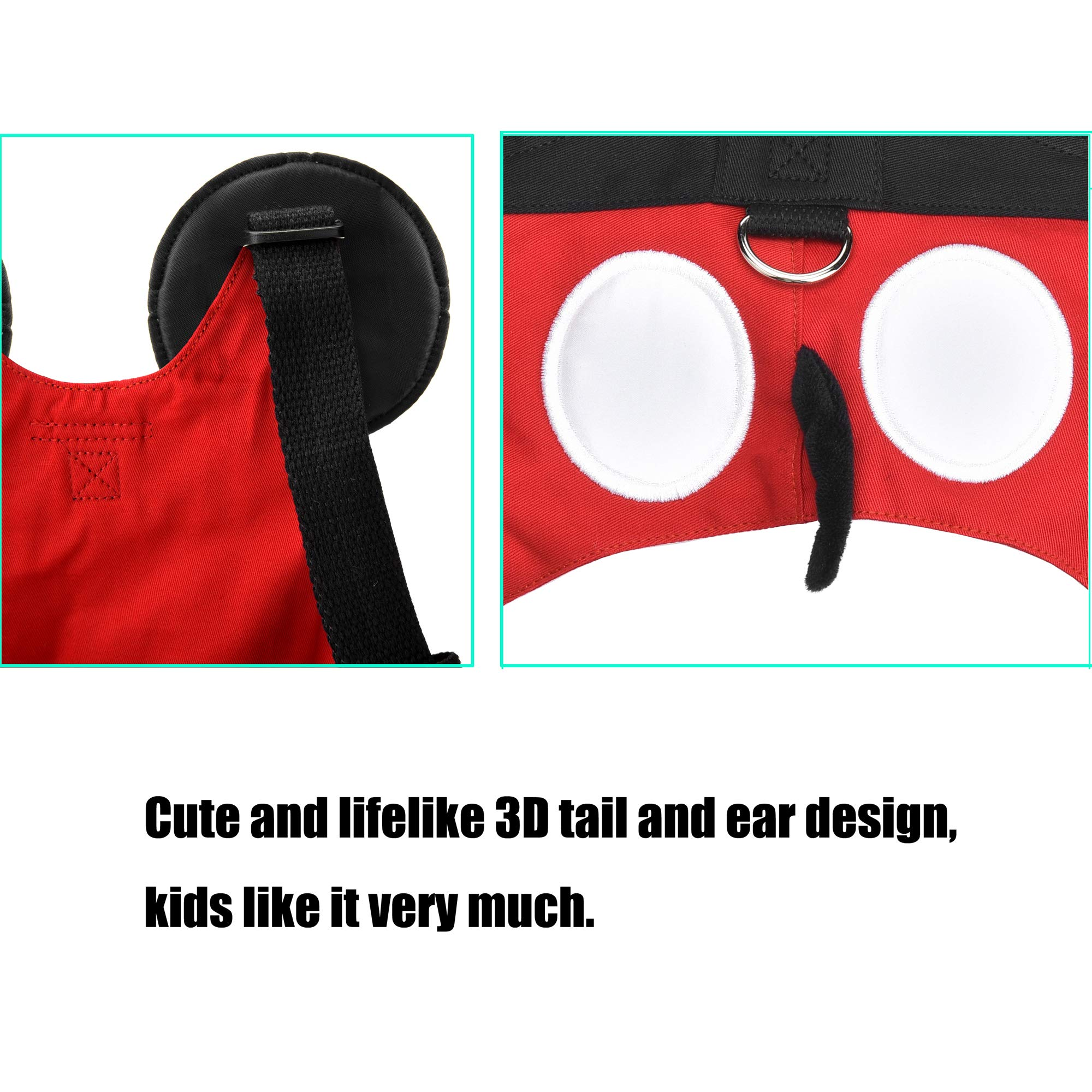 Toddler Leash & Harness, Yimidear Child Anti Lost Leash Baby Cute Safety Harness Belt Strap Hold Kids Close While Walking for Boys and Girls Fits 1-5 Years Old(Red) by Yimidear (Image #6)