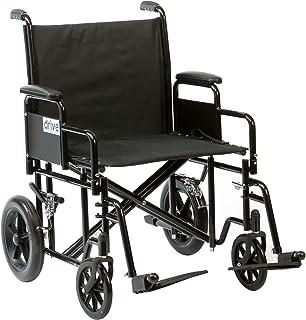 Drive Medical BTR22BLK Bariatría - Silla de ruedas para personas con sobrepeso (acero),