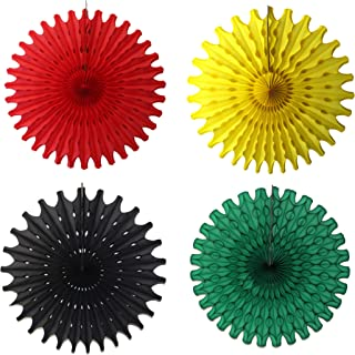 product image for 4-piece 18 Inch Tissue Paper Fan Decorations in Kwanzaa Themed Solid Black, Yellow, Dark Green, and Red