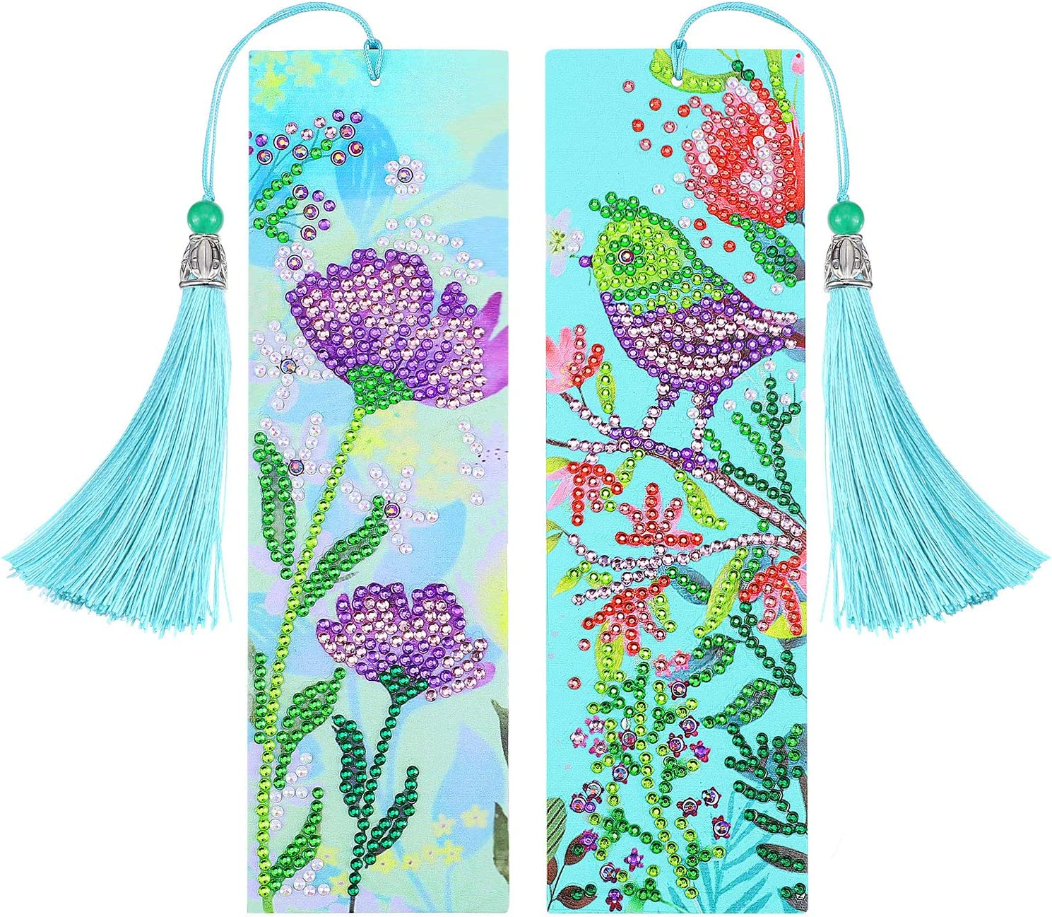 Kitcheblest Chinese Style Fan-Shaped Embroidery Bookmark Painting Cross Stitch Tassel Bookmarks Set Books Gift for Women Kids Round Fan-Style1