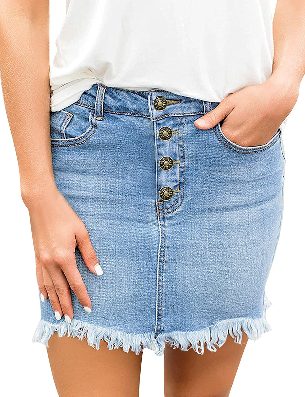 Uqnaivs Women's Casual Frayed Raw Hem Mid Waisted Pockets Denim Jean Short Skirt