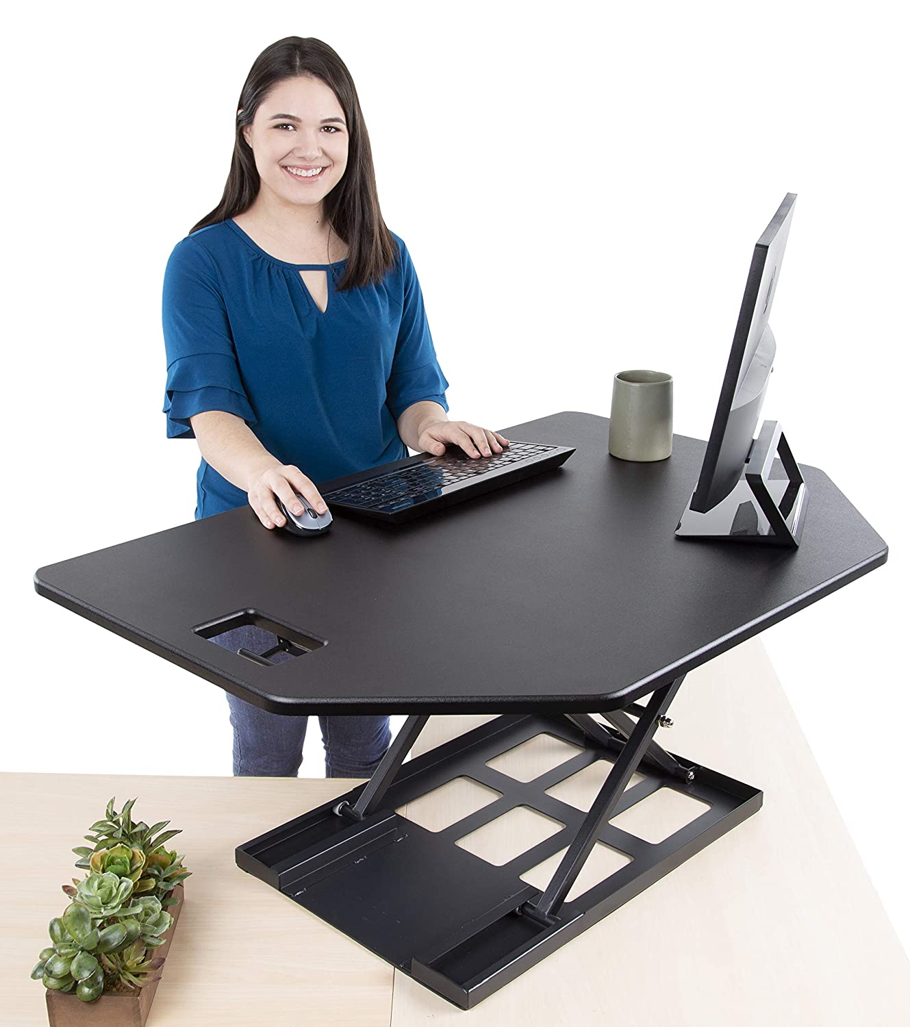 Stand Steady Flexpro Hero Extra Large 47' Standing Desk | Huge Work Space w/Extra Level for Keyboard Tray | Easily Convert Any Surface to a Stand-Up Desk! (47' x 31')