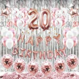 HAPYCITY 20th Birthday Decorations Balloons (55pack)Rose Gold 20 Balloons Number Happy 20 Party Supplies for Her-Perfect…