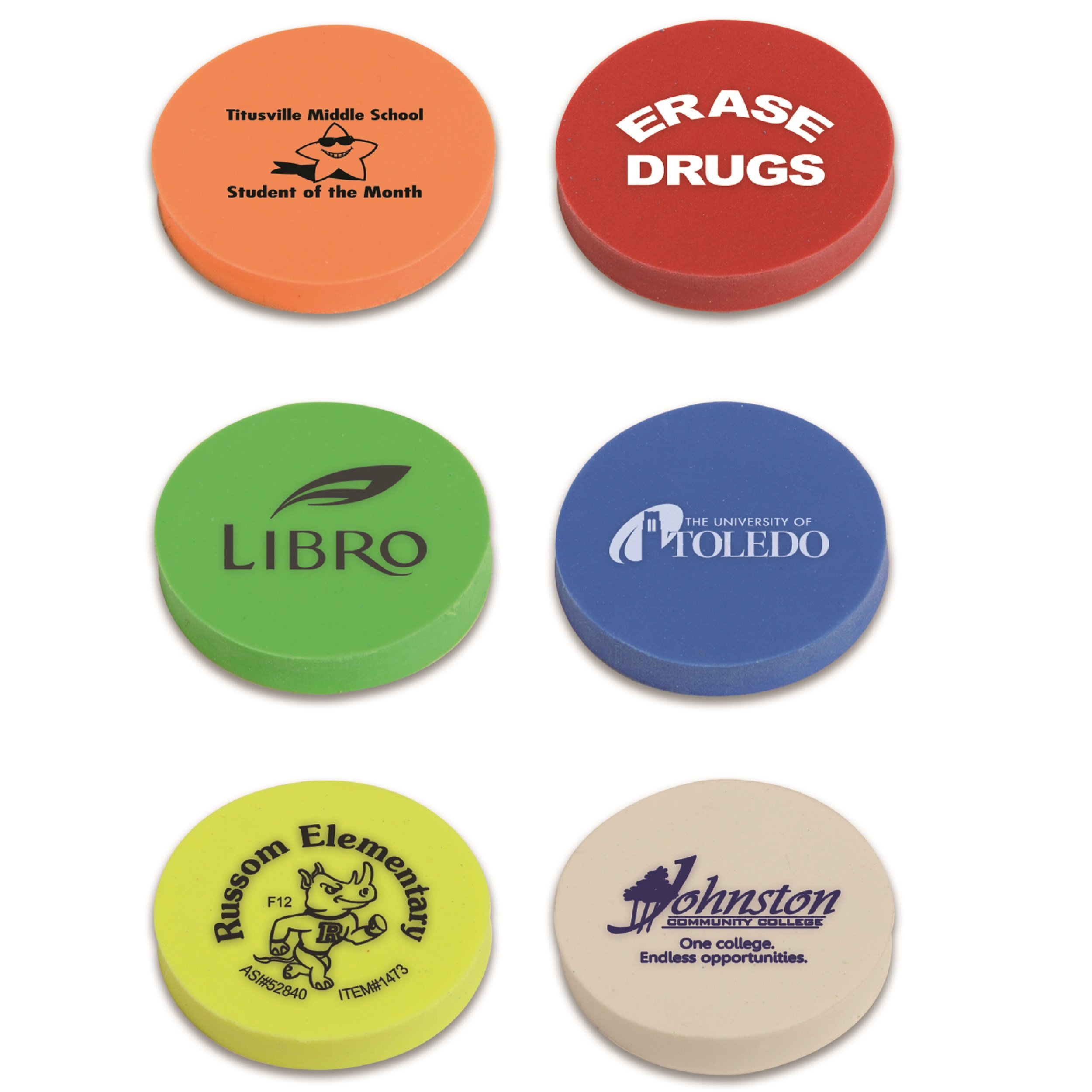 250 Personalized Round Eraser Imprinted With Your Logo Or Message