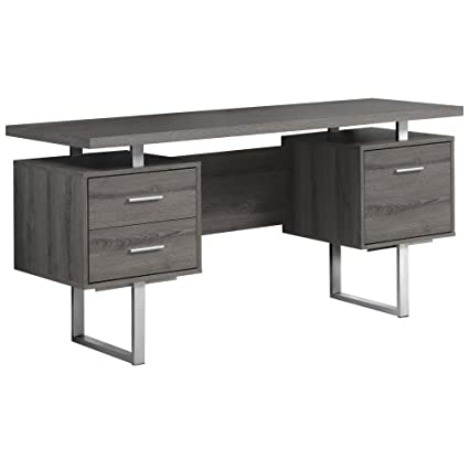 Monarch Specialties Dark Taupe Reclaimed Look/Silver Metal Office Desk,  60 Inch