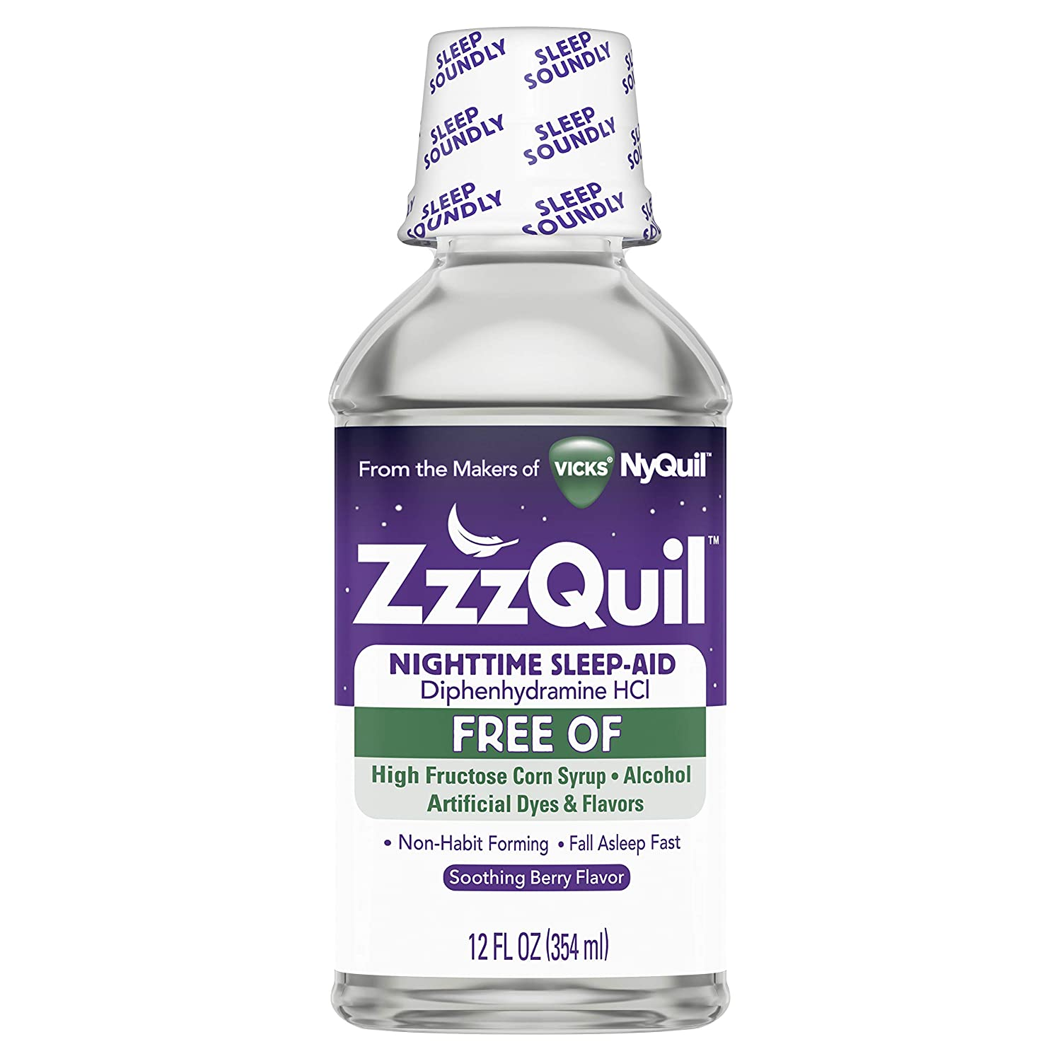 ZzzQuil Nighttime Sleep Aid Alcohol Free Liquid, Soothing Mango Berry Flavor, 12 Fl Oz (Packaging May Vary)