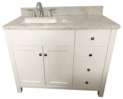 42 Inch Solid Wood White Bathroom Vanity Cabinet With Drawers ,Natural  Italian Carrara Marble Counter