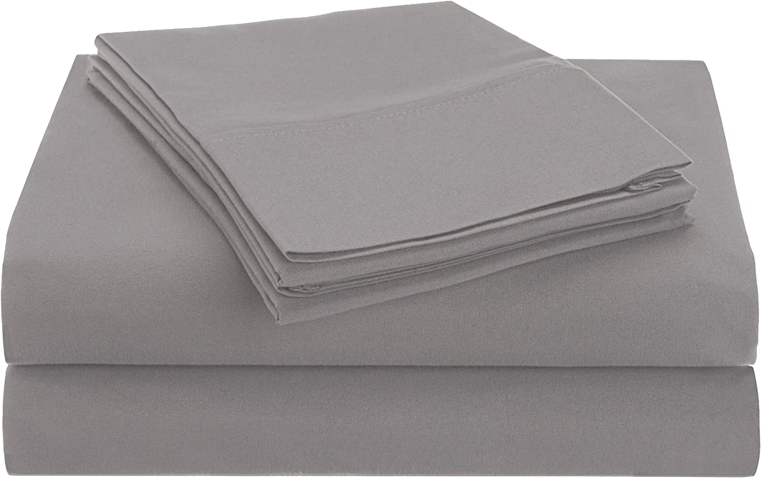 Superior 1500 Series Premium Quality 100% Brushed Soft Microfiber 3-Piece Luxury Deep Pocket Cooling Bed Sheet Set, Hypoallergenic, Wrinkle and Stain Resistant - Twin XL, Silver