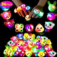 Mikulala Birthday Party Favors for Kids Prizes Flashing 36 Pack LED Jelly Light Up Rings Toys Bulk Boys Girls Gift Blinky Glo