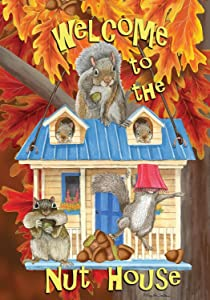 Briarwood Lane Welcome to The Nuthouse Fall House Flag Squirrels Humor 28