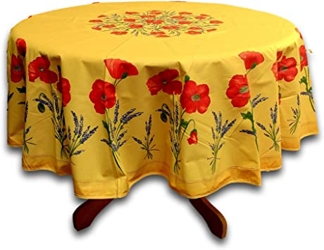 Amazon Com La Cigale Wipeable Tablecloth Spillproof Acrylic Coated Floral Poppy Cotton French Provencal Tablecloth For Round Tables 71 Inches Yellow Peach Home Kitchen