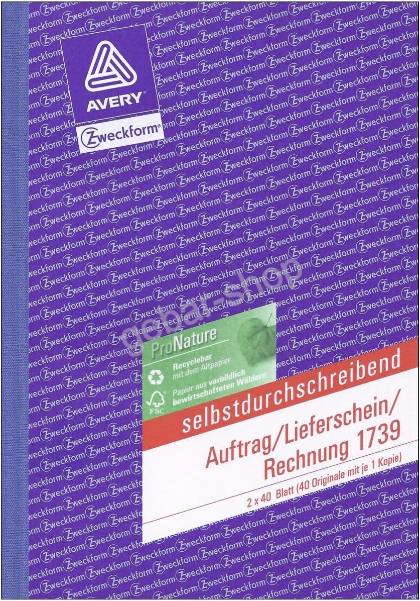 gelb 2 x 40 Blatt selbstdurchschreibend DIN A5 Avery Zweckform/© 1739 Auftrag//Lieferschein//Rechnung wei/á