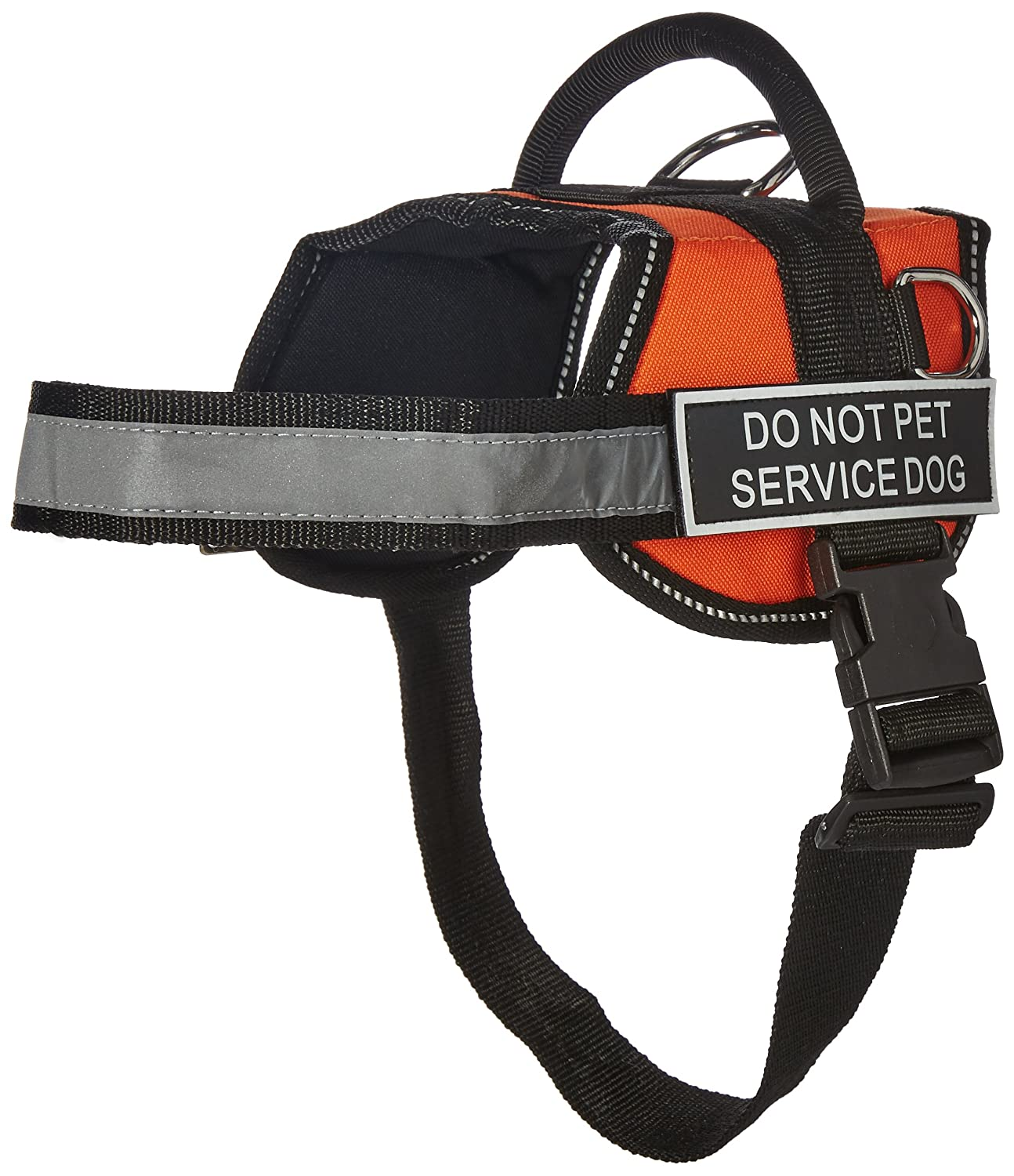 Dean & Tyler Works Do Not Pet Service Dog Pet Harness, Small, Fits Girth Size  25 to 34-Inch, orange Black