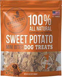 Wholesome Pride Sweet Potato Mini Bites Dog Treats-8oz- All Natural and Made in The USA