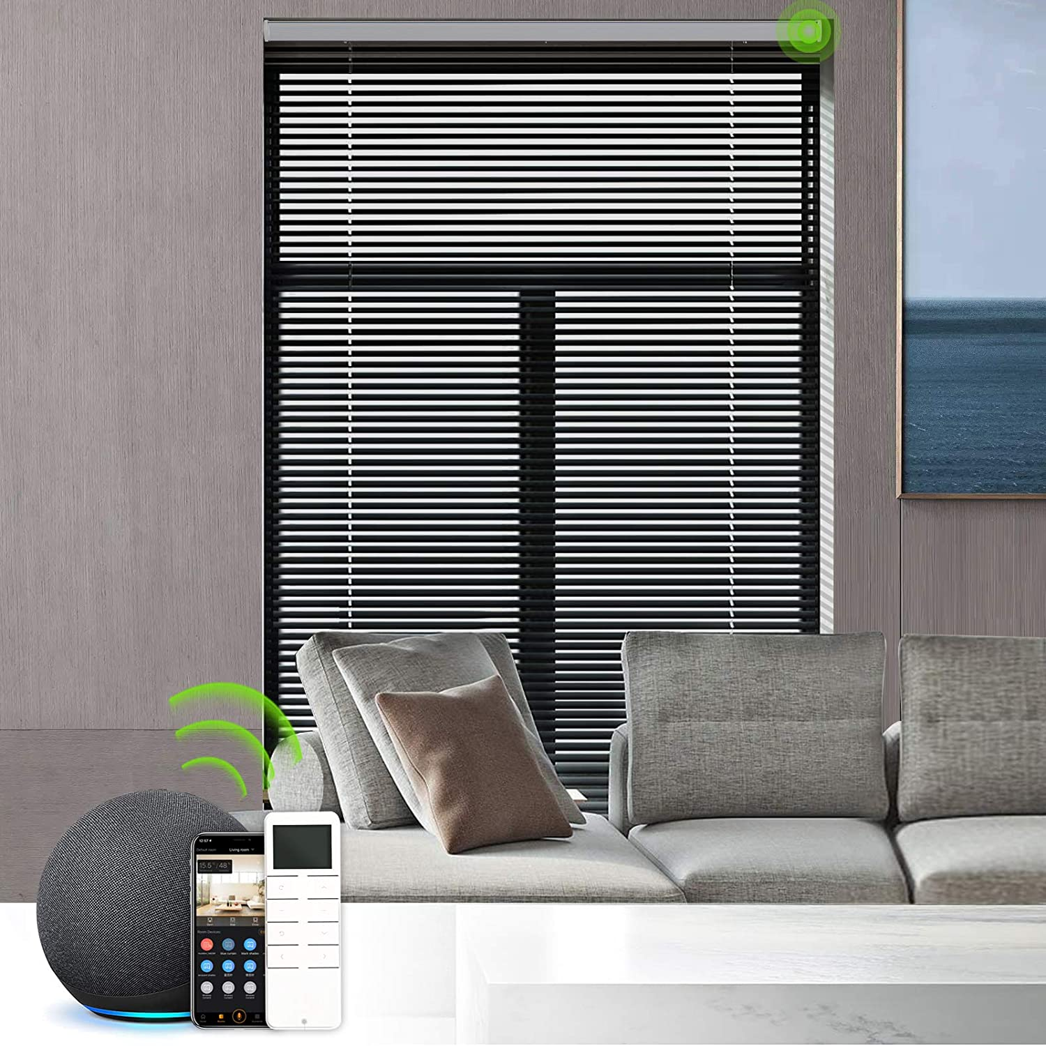 Yoolax Motorized Venetian Blinds Work with Alexa, Light Filtering Sheer Automated Horizontal Blinds Customized Size, Blackout Aluminum Smart Window Shades with Remote Control for Home Office (Black)