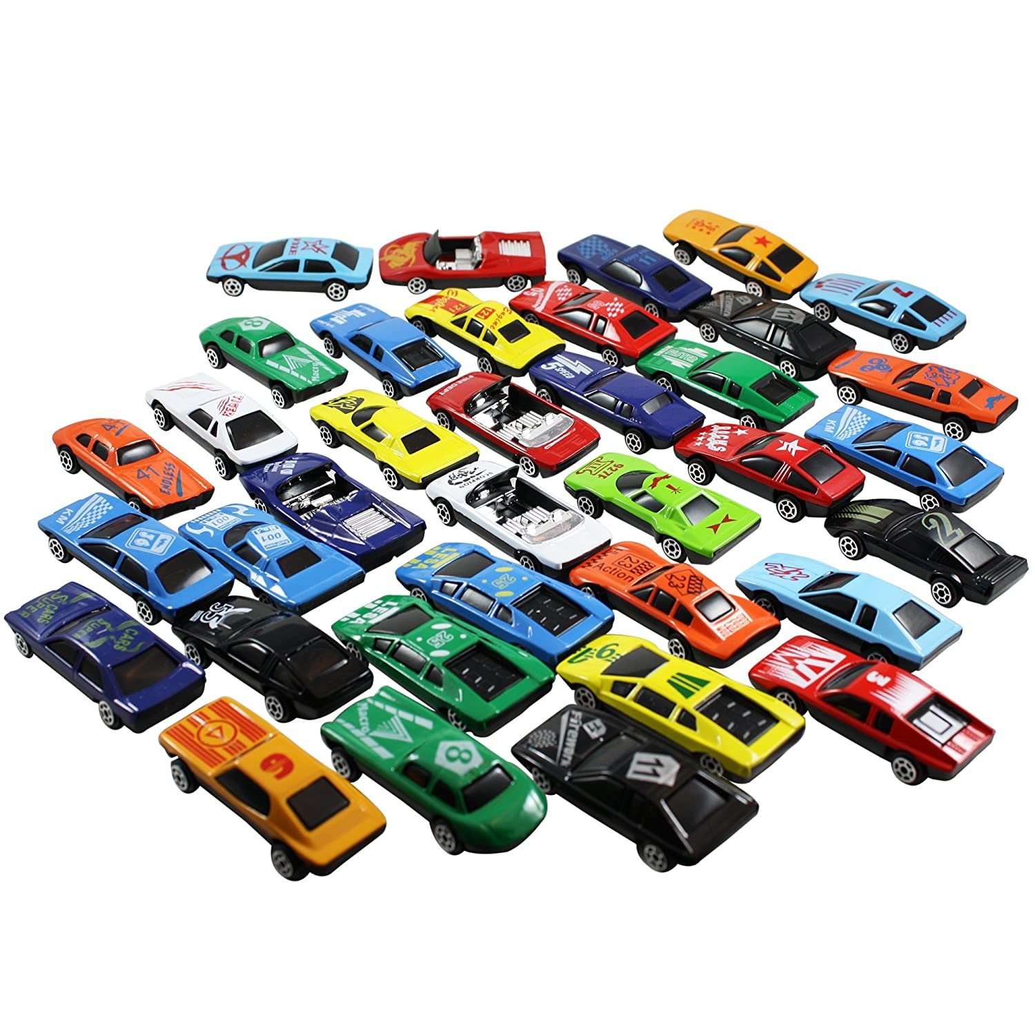 amazoncom race car toys assorted for kids boys or girls free wheeling die cast metal plastic toy cars set of 36 numbered vehicles convertibles great