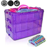 Holds 600 - Tiny Toy Box Shopkins Storage Case Organizer Container - Stackable Collectors Carrying Tote Compatible W/ Mini Toys Colleggtibles Fash'ems Tsum Tsum Hot Wheels (Purple Sparkle/Pink)