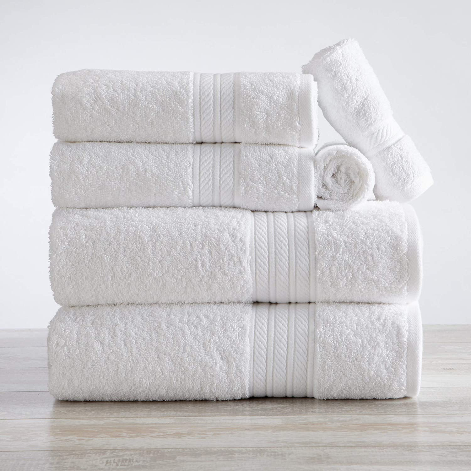 Great Bay Home 6-Piece Towel Set. Eco-Friendly Bathroom Towels. Woven Solid Color Detail Absorbent Towels. Set Includes 2 Bath, 2 Hand, and 2 Wash. PureSoft Collection (White)