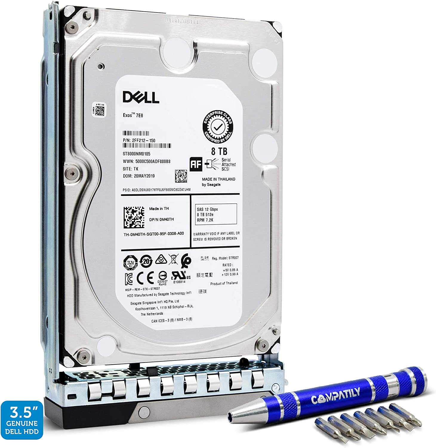 Dell 400-ATKR 8TB 7.2K SAS 12Gb/s 3.5-Inch EMC PowerEdge HDD in 14G Tray | Exos 7E8 ST8000NM0185 Enterprise Hard Drive | Bundle with Compatily Screwdriver Compatible with M40TH R440 R540 R640 R740