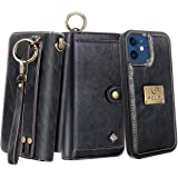 Petocase Compatible with iPhone 12 Pro iPhone 12 Wallet Case 6.1 Inch Released in 2020, Multi-Function Zipper Purse with Deta