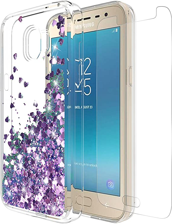 Amazon Com Galaxy J2 Pro 2018 Case J2 Pro Galaxy Grand Prime Pro 2018 With Tempered Glass Screen Protector Cute Sparkly Glitter Bling Quicksand For Teen Girls Cover For Samsung Galaxy J2 Pro