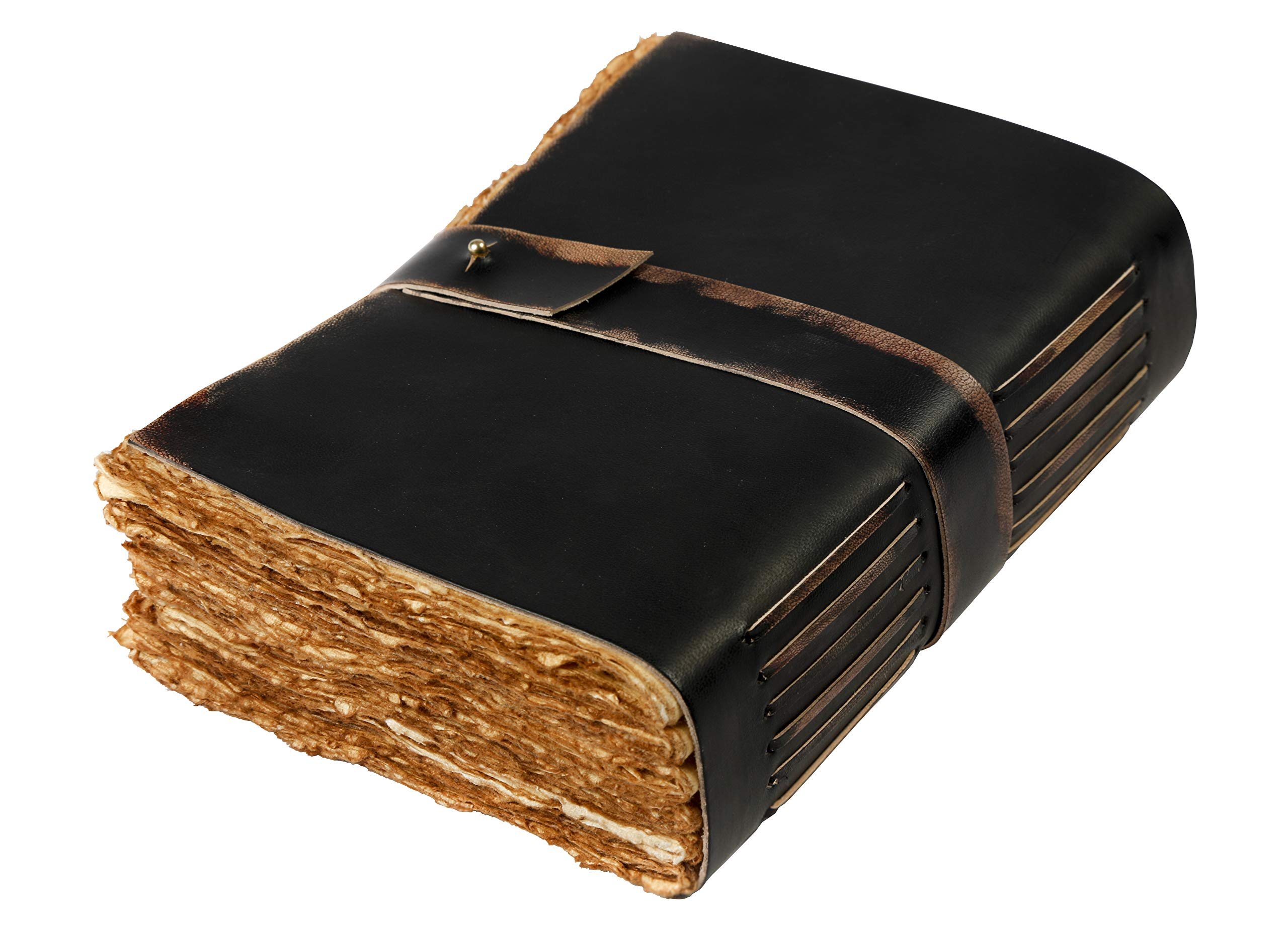 Leather Village-Vintage Leather Journal Writing Notebook-Leather Bound journals to write in present for women men. journaling sketching painting Fountain calligraphy pen. 7X5 inches, 288 deckle pages by Leather Village