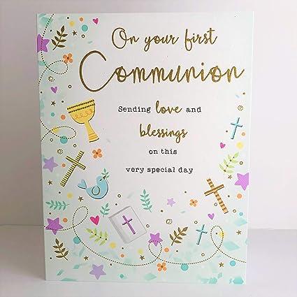 Tarjeta de amor y bendiciones de la Primera Comunión: Amazon ...