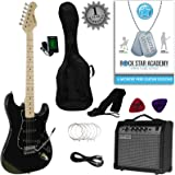 Stretton Payne ST Style Electric Guitar Package with Amplifier, Padded Bag, Strap, Lead, Plectrums, Tuner, Spare Strings and Online Guitar Lessons. Guitar in Black