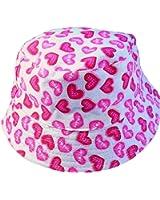 Kids Girls Canvas Cotton Sun Hat Bucket WHITE PINK HEARTS Age 3 4 5 6