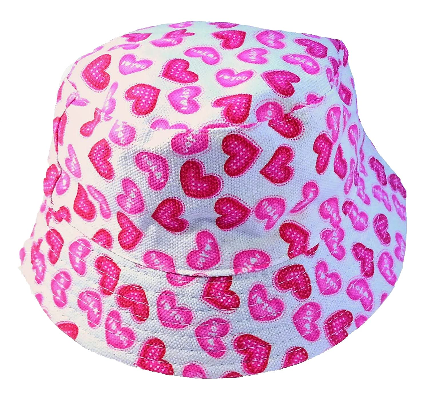 c083ad433 Kids Girls Canvas Cotton Sun Hat Bucket WHITE PINK HEARTS Age 3 4 5 6