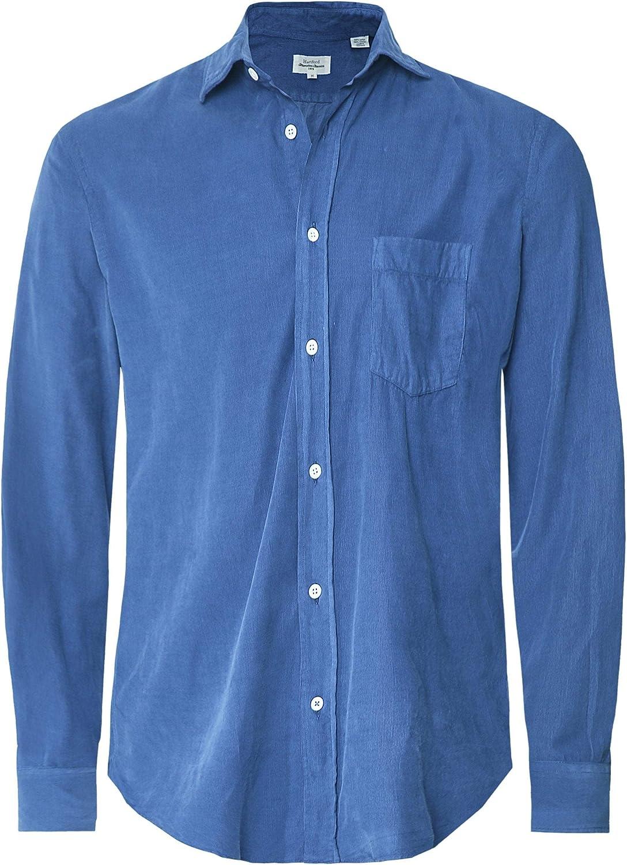 Hartford Hombres Camisa de Pana de Ajuste Regular Paul Blue M ...