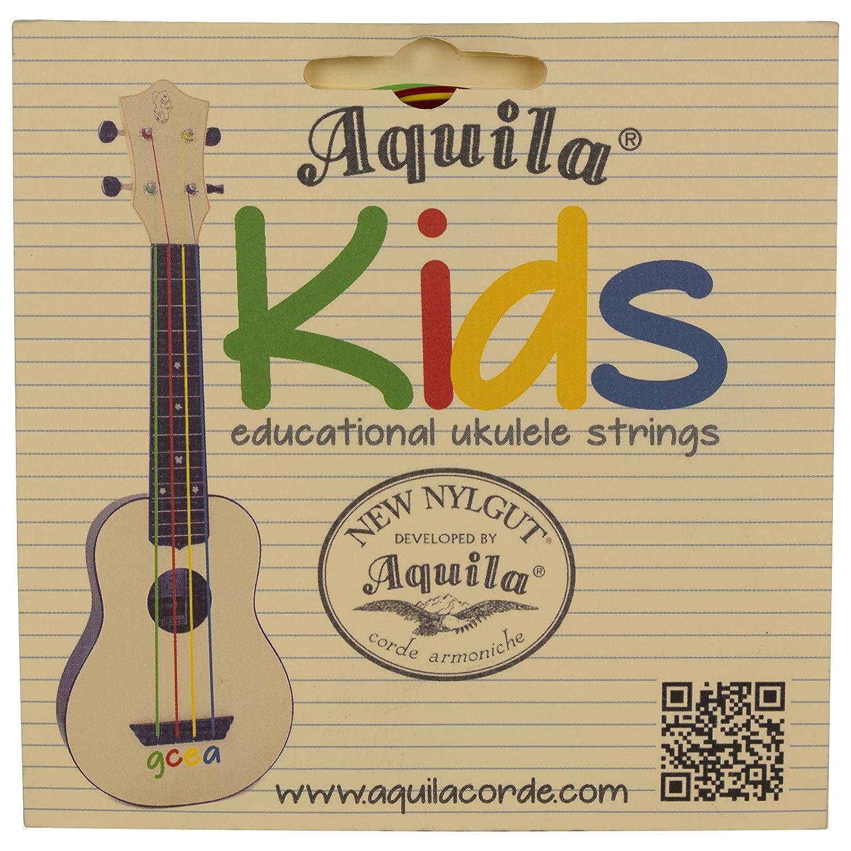 Aquila AQ-138 New Nylgut KIDS Soprano Ukulele Strings High G & GCEA Set of 4 Saga Musical Instruments CA