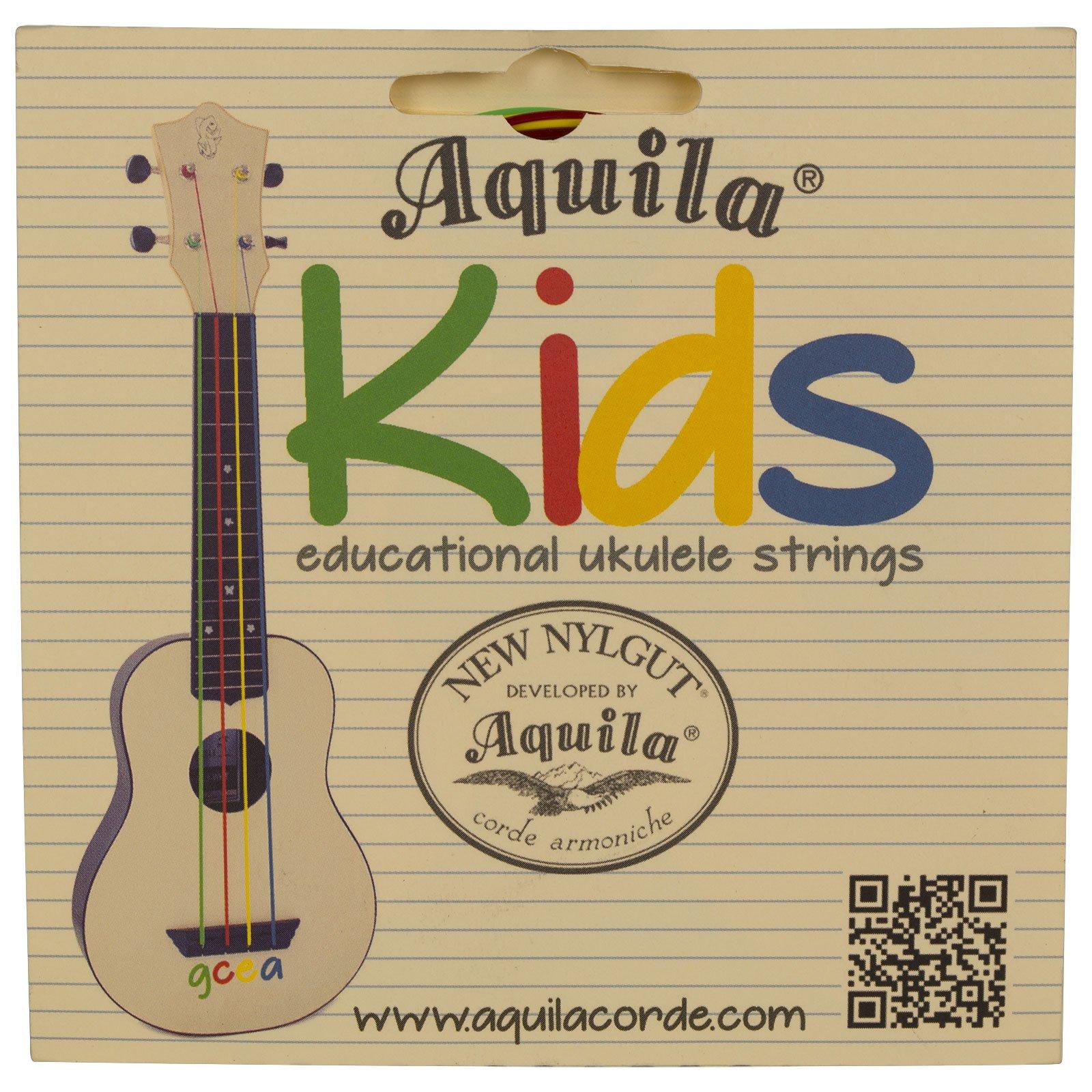 Aquila New Nylgut AQ-138 Kids Soprano Ukulele Strings – High G & GCEA – Set of 4