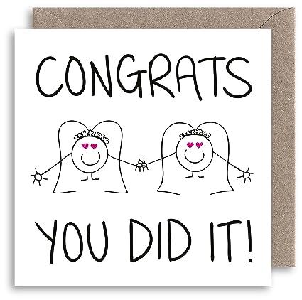 Felicidades lesbiana boda tarjeta: Amazon.es: Oficina y ...