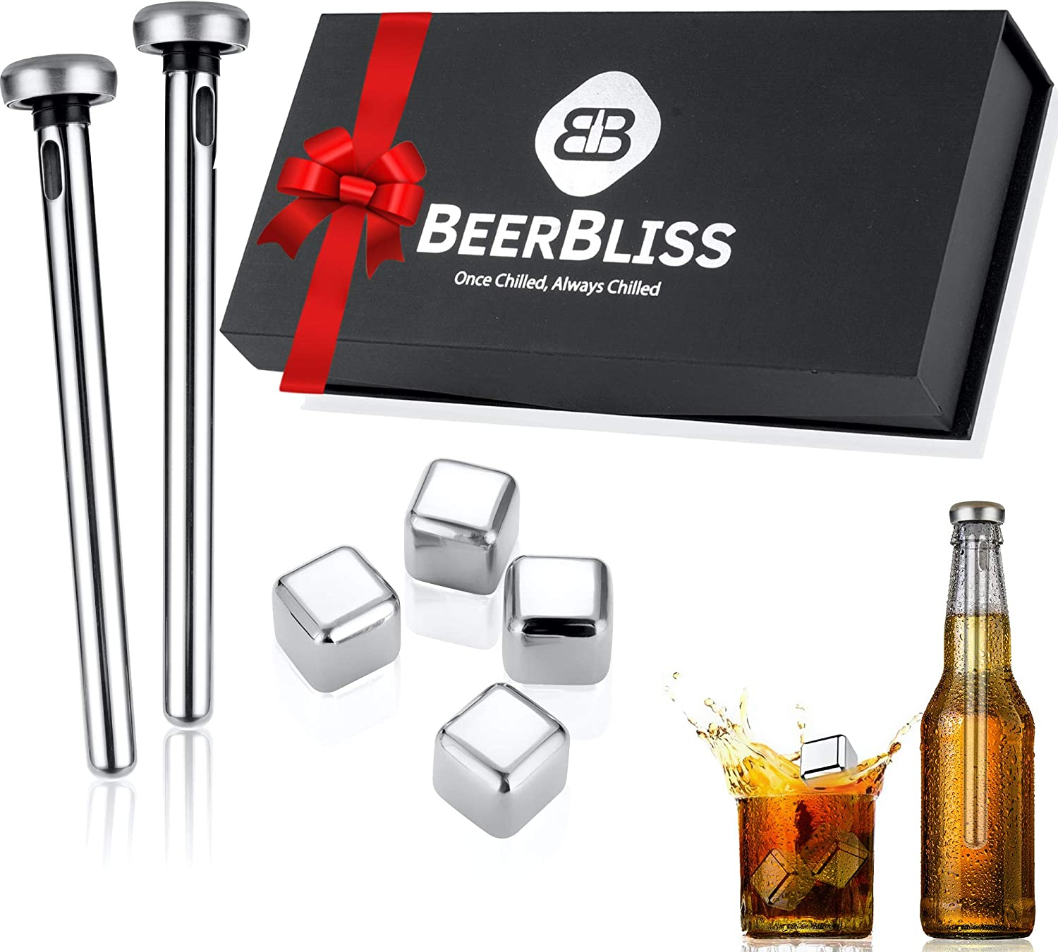 Beer Chiller Sticks for Bottles with Reusable Ice Cubes Set-Beer gift for men who love beer-Best beer gift idea for Birthday, Fathers Day, Christmas, Anniversary-Unique gadgets for boyfriend or dad
