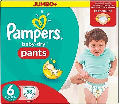 Pampers-Pants-Pañales Baby Dry-talla 6 (15 kg/) XL-Jumbo Pack (x58) calzones: Amazon.es: Salud y cuidado personal