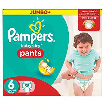 Pampers-Pants-Pañales Baby Dry-talla 6 (15 kg/) XL