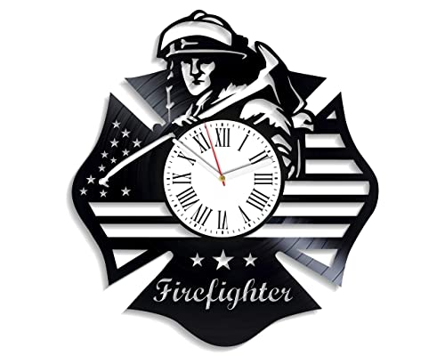 Kovides Profession Wall Clock Exclusive Birthday Gifts for Man Fire Department Clock Xmas Gift Decor for Living Room Firefighter Wall Clock Modern Vintage Vinyl Record Clock Profession Art