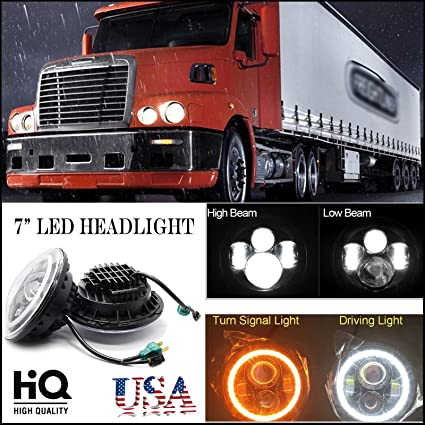 7 Inch For Freightliner Century Class LED Round Headlight Halo Ring Angel Eyes Hi Low Double Beam DRL Amber Turning Signal Lights Replacement 6000K
