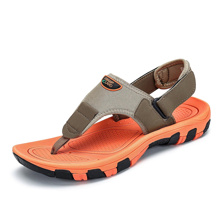 Herren Sandalen Zehentrenner Outdoor Strandschuhe mit Klettverschluss Sommer Männer Rutschfest Atmungsaktiv Flip Flops Khaki orange