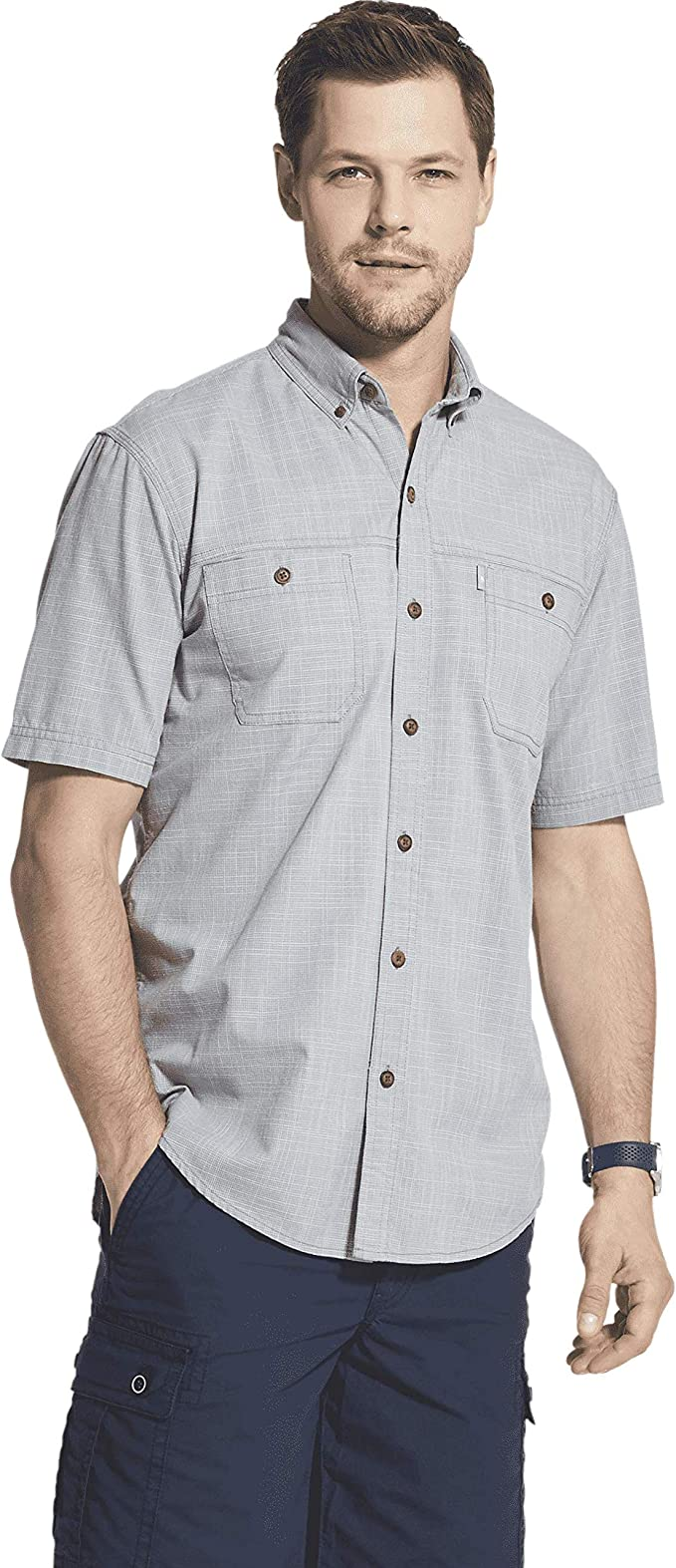 G.H Mens Big and Tall Crosshatch Short Sleeve Button Down Solid Shirt Bass /& Co