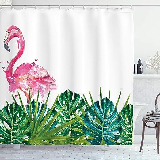 70/'/' Tropical Waterproof Flowers Flamingo Bathroom Shower Curtain with 12 Hooks