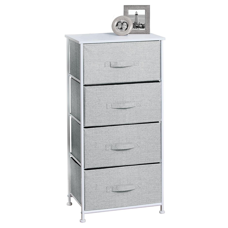 mDesign Cassettiera in tessuto con 4 cassetti – Armadio di stoffa universale ideale come cassettiera camera o ufficio – Comodino leggero in tessuto traspirante – grigio MetroDecor 6570MDHS