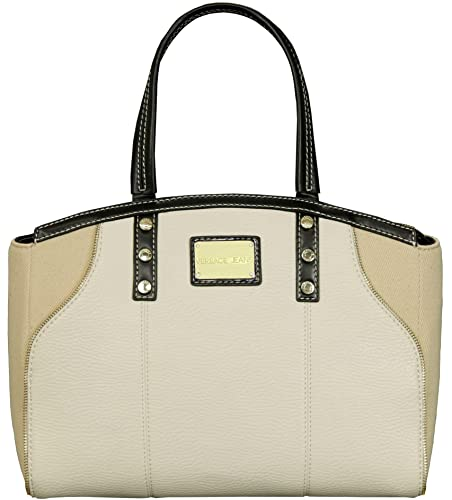 ee90cf75fe63 Versace Faux Leather   Canvas Tote Bag White  Amazon.co.uk  Shoes   Bags