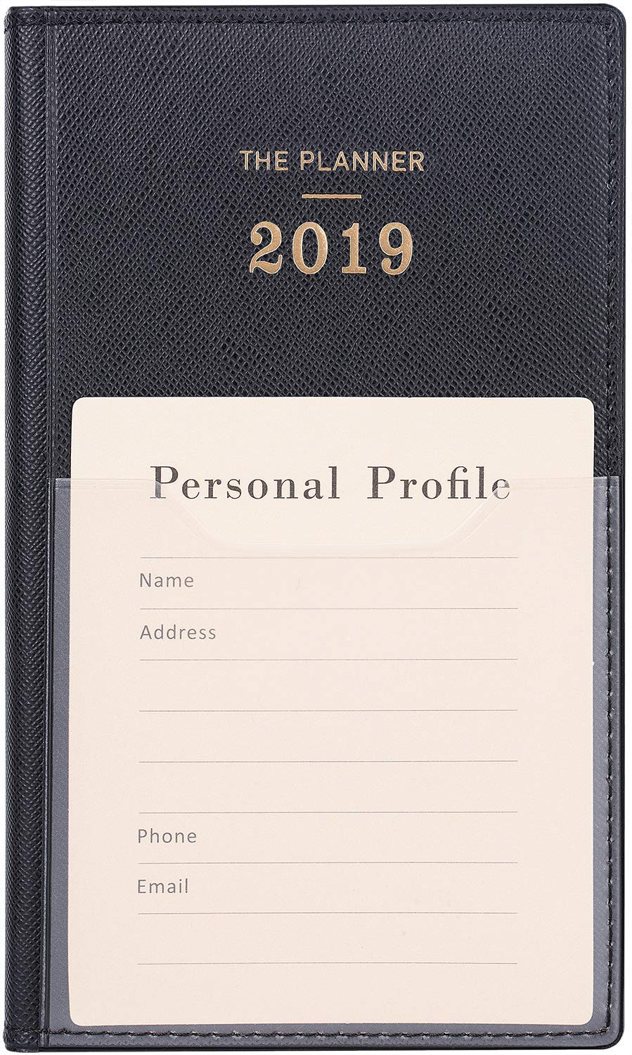2019 Weekly Planner with Tabs - A6 Weekly&Monthly Pocket Planner with Pen Hold, Inner Pocket and 30 Notes Pages, 6.6