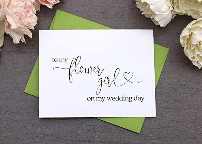 to my flower girl on my wedding day card flower girl gift thank you card - Wedding Gift Thank You Cards