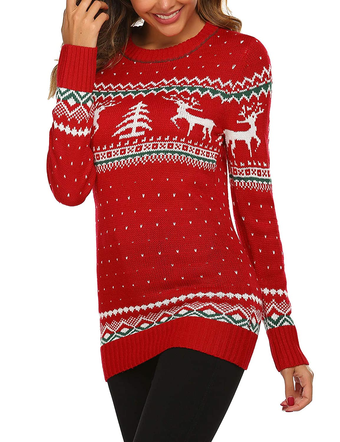 Meaneor Womens Ugly Christmas Sweater Patterns Reindeer