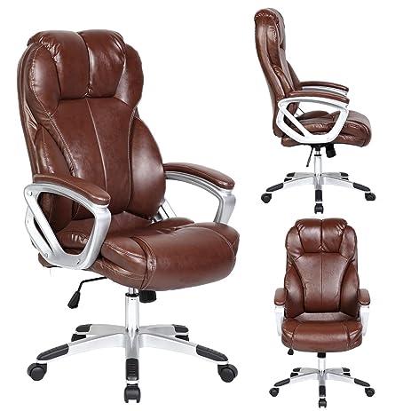 amazon com brown modern high back pu leather executive office desk