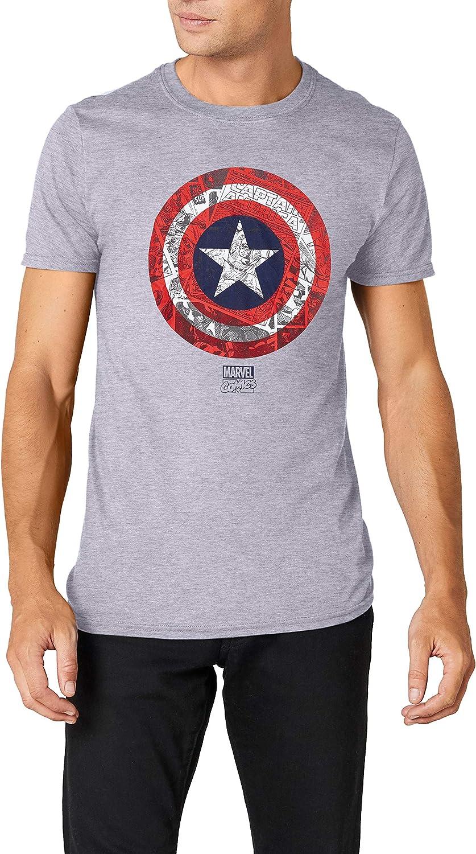 Marvel Ca Comic Shield Camiseta de Manga Larga para Hombre