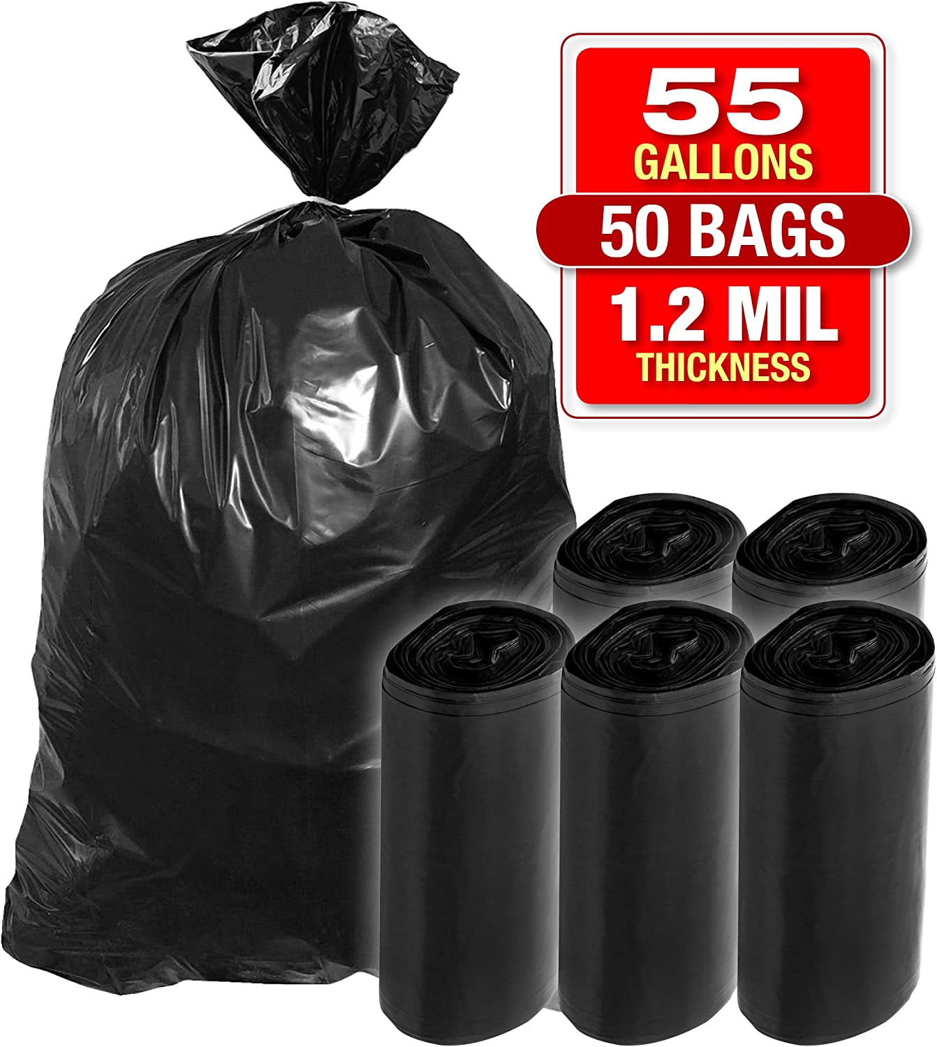 """Heavy Duty Black Trash Bags - 55 Gallon 50 PK Black Bags for Garbage, Storage - 1.2 Mil Thick, 35""""Wx55""""H Industrial Grade Trash Bags for Construction, Yard Work, Commercial Use - by Tougher Goods"""